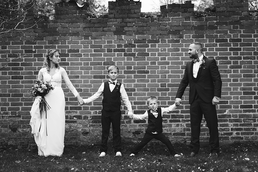 a family on their wedding day photographed by Bedford wedding photographer