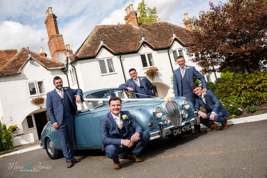 Barns Hotel wedding photograph of a classic car outside the Barns Hotel on a wedding day