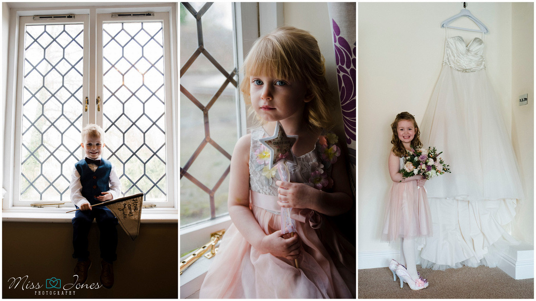 wedding photograph of children on a wedding day at the Barns Hotel Bedford