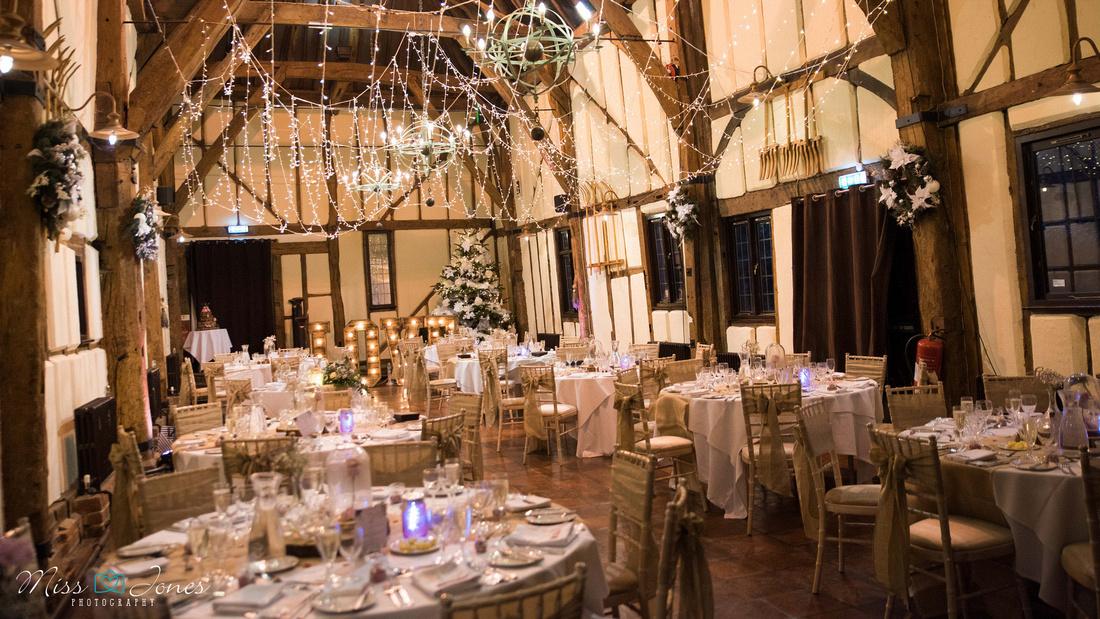 Winter wedding at the Barns Hotel taken inside the barn