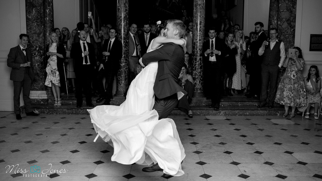 couple doing their first dance at Chicheley Hall