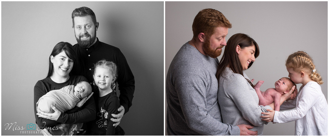 family photoshoot with new baby at a studio in bedford