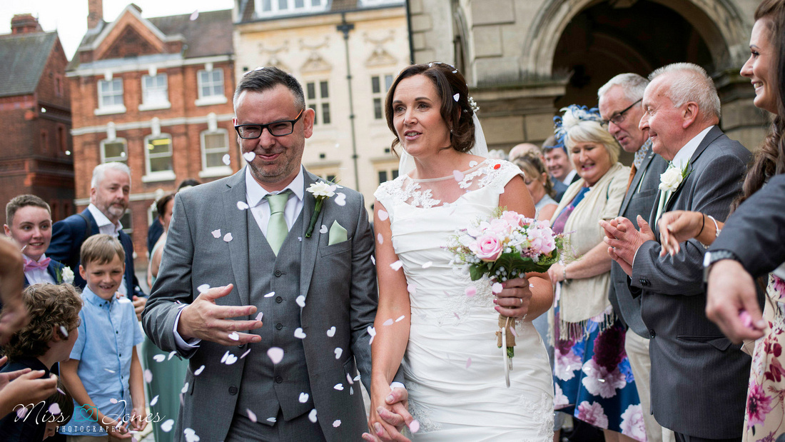 Bride and Groom outside Old Town Hall Bedford registry office