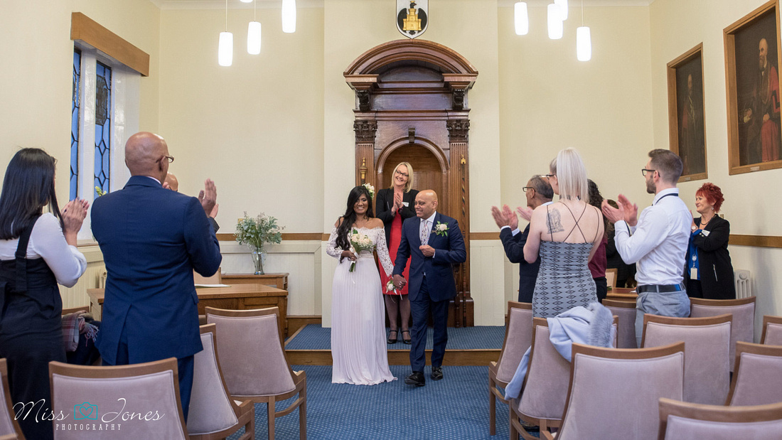 wedding couple just married at Bedford registry office the Old Town Hall Bedfordshire